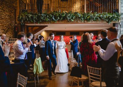 Bride and Groom arriving at Priston Mill Tythe Barn