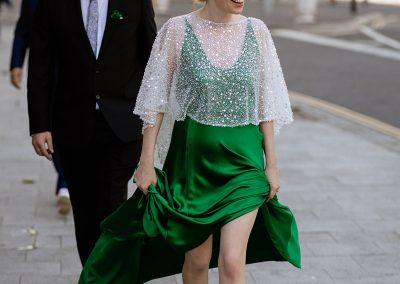 Bride wearing green