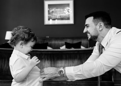Coombe Lodge wedding, grant and his son