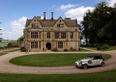 Coombe Lodge wedding, wedding car arrives