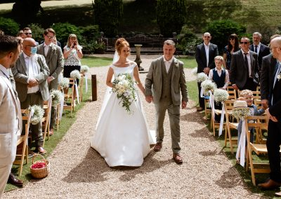 Coombe Lodge wedding, Chloe and her dad
