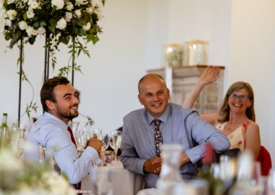 Coombe Lodge wedding, speeches, guests laughter