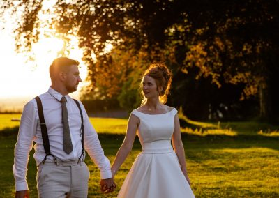 Coombe Lodge wedding, sunset walk